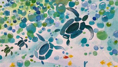 Turtles swimming